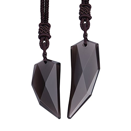 Wolentty Obsidian Necklace Wolf Tooth Amulet Pendant Hanging with Adjustable Rope Gem Couples Necklace for Men Women