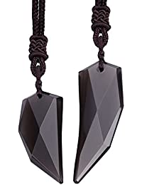 Couples Jewelry Sets - Obsidian Spike Amulet Pendant Necklace Gifts for His and Hers