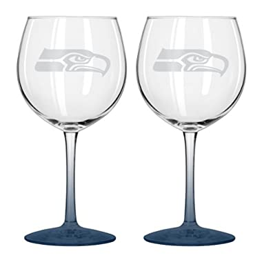NFL Seattle Seahawks Satin Etch Balloon Wine Glass, 20-ounce, 2-Pack