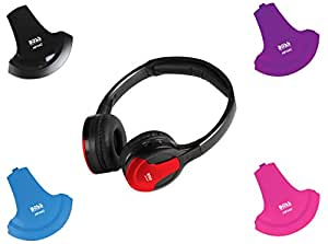BOSS Audio HP34C Dual Channel Foldable Wireless Headphone, Interchangeable Color Accent Caps