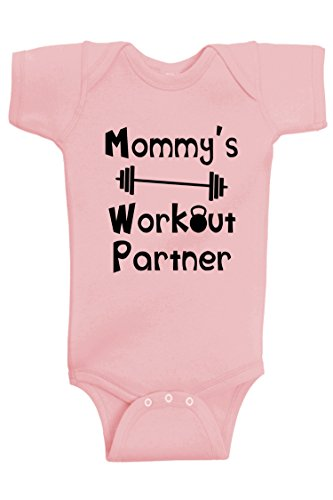 Baby Barbell - Reaxion Aiden's Corner - Mommy's or Daddy's Workout Partner Bodysuits - Funny Baby Boy & Girl Clothes (6 Months, Mom_Pink)