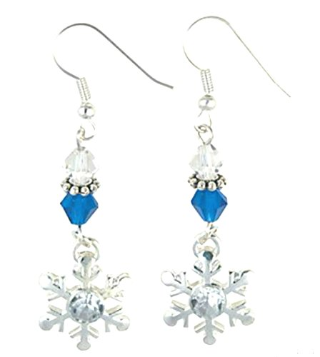Silvertoned Snowflake Earrings with Glass Beads From a Frozen Winter Wonderland (Winter Snowflake Earrings)