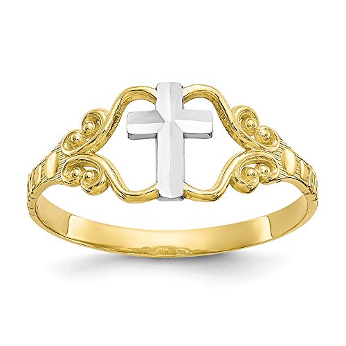 Size 7 - Solid 10k Yellow and White Gold Two Tone Polished Cross Ring ()