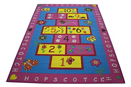 - LA Hopscotch Blue Alphabet Floral Garden Butterfly Hopscotch 8-Feet-by-10-Feet Polyester Made Kids Area Rug Carpet Rug Pink Blue Colorful