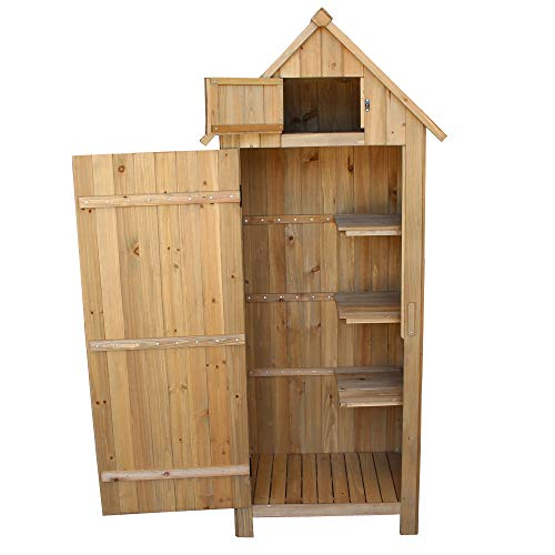 TryMe Outdoor Storage Cabinet,Fir Wood Garden Shed Organizer Wooden Lockers with Single Door