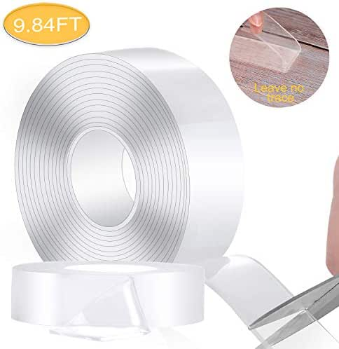 Washable Adhesive Tape Nano Double Sided Transparent Silicone Gel Grip 3M/9.84ft Removable Strips Grip Carpet Mats Multifunctional Phone Pads