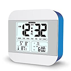 FAMICOZY Talking Alarm Clock with Smart Light and Snooze,7 Sounds to Choose,3 Alarms for 5/6/7 Days,Week Date Temperature,12/24hr Battery Operated Clock(Blue)