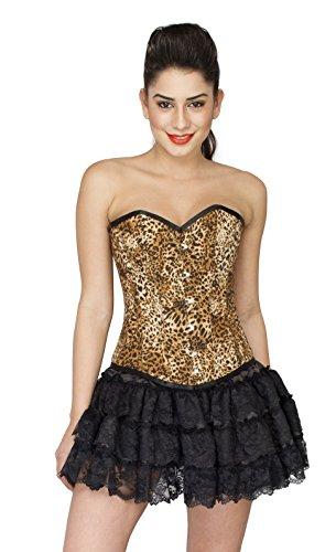 資本主義の中で地獄Leopard Print Polyester Goth Burlesque Waist Cincher Bustier Overbust Corset Top