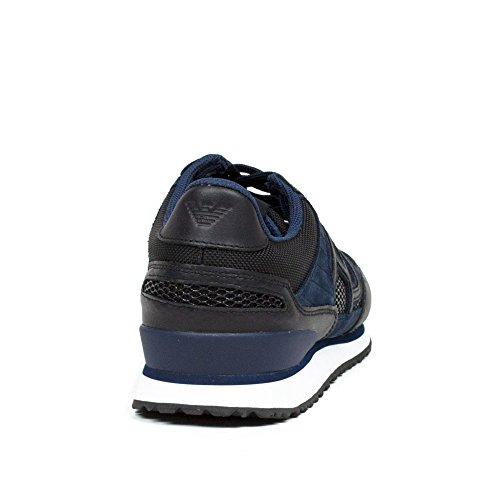 Zapatillas Deportivas Para Hombre Giorgio Armani Jeans Oscuro Gris Oscuro Gráfico Y Azul Cod. 935028 Tamaño 40