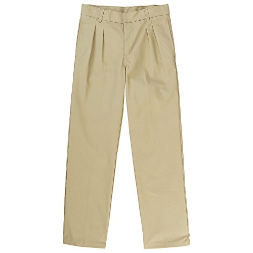 French Toast Big Boys' Pleated Double Knee Pant with Adjustable Waist, Khaki, 8
