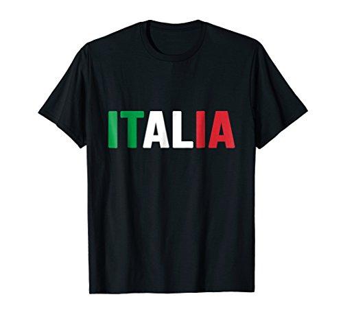 (Mens Italia T-shirt Italy Italian Flag Soccer Football Fan Jersey Small Black)