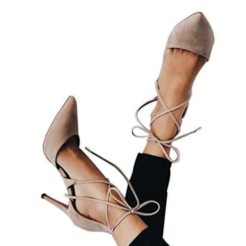 Lacets Design Fille Kaki Automne Pointu Noir Cravate À Femmes Été Confortable Mode Lady Sandales Talon Shoes Haut 6Yq88wFB
