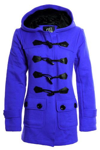 Sapphire Women's Duffle Hooded Trench Pocket Ladies Jacket Coat Royal Blue