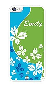 MMZ DIY PHONE CASEiZERCASE Personalized Butterflies on Green and Blue Pattern RUBBER ipod touch 4 case - Fits ipod touch 4 T-Mobile, AT&T, Sprint, Verizon and International (White)