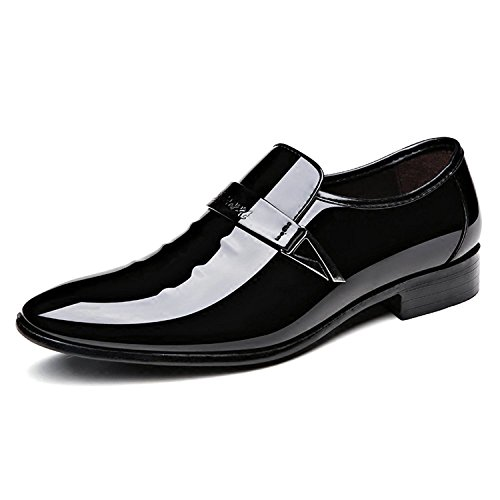 Toe Black Tuxedo Shoes New - ZZHAP Men's Pointed-Toe Tuxedo Dress Shoes Casual Slip-on Loafer Black US 8