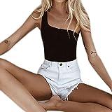 Boomboom Women One Shoulder Crop Tops Sport Bra Camis Ladies Vest (Black,S)