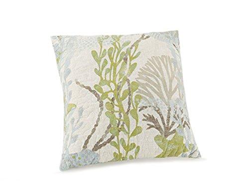 Peking Handicraft Ocean Botanical Quilted Decorative Pillow, 14x14 Throw Pillow, Light Green ()