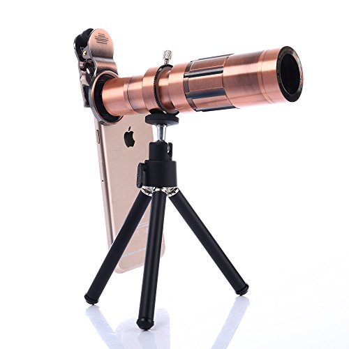 Camera Phone Lens Kit with Universal Clip and Portable Tripod, Addprime Omnibearing Camera 20X Telescope Optical Telephoto Lens for iPhone, iPad,Tablet PC and Smartphone(Copper)