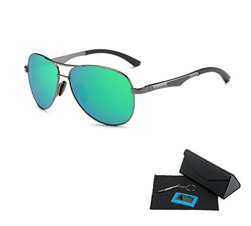 Shushu Jacob Men's Polarized Sunglasses UV400 Protection Vintage Aviator Bright Green Lense Gunmetal - Polarized Sunglasses Australia