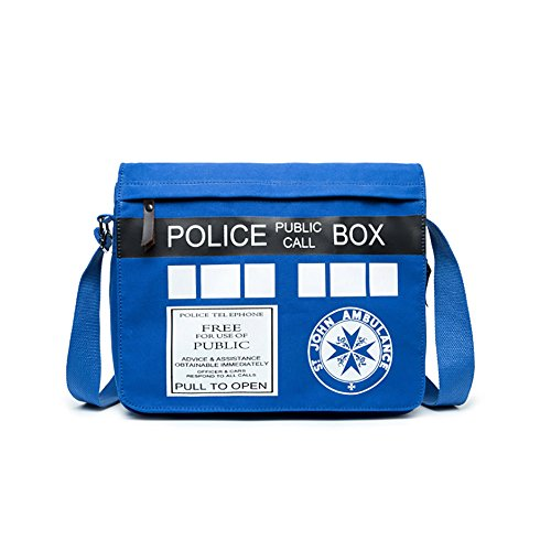 Anime Style Cosplay Shoulder bags Khaki Grey Cotton Canvas Cross body handbags ipad Book School bags (Doctor Who)