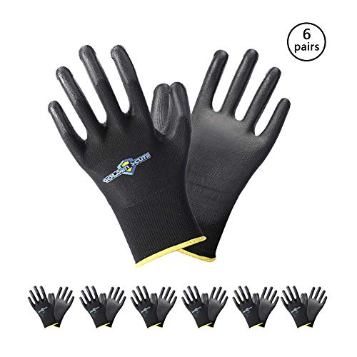(Golden Scute 6 Pairs PU Coated Touchscreen Black Polyester Safety Work Gloves, Men& Women 13 Gauge Polyurethane Gloves for Precision Work (Large/Size)