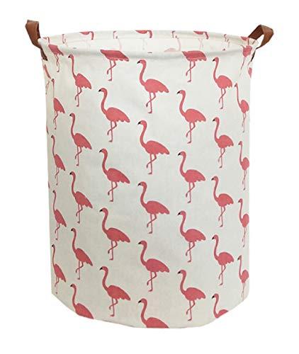 Sanjiaofen Large Sized Storage Baskets,Canvas Waterproof Storage Bin,Collapsible Organizer Baskets for Home,Office,Toy Bins,Laundry Hamper (Flamingo)