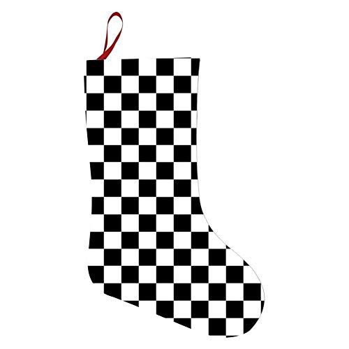 OPQNIAFH White Black Checkered Christmas Stockings Xmas Ornaments Hanging Decorations Socks Santa Claus Present ()