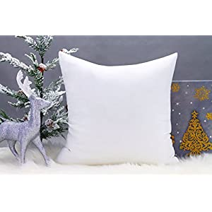 "Premium 18""x18"" White Cotton Feel MicroFiber Square Sham Euro Sofa Bed Couch Decorative Pillow Insert Form Fill Stuffer Cushion Made in USA For Pillow Cover or Case (18x18)"