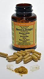 Durham\'s Queen\'s Delight (Royal Jelly 1000mg, Propolis 600mg, Beepollen 1500mg) in 3 Daily Capsules