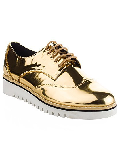 - CAPE ROBBIN Women's Fashion Patent Leather Metallic Flatform Lace Up Platform Oxford Shoes Gold (6.5)