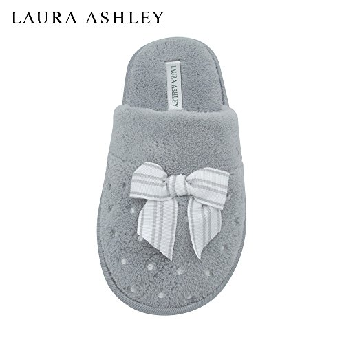 laura-ashley-ladies-soft-terry-slippers-with-scuff-dots-and-embroidered-bow-in-heather-grey-size-l