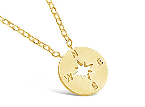 Rosa Vila Compass Necklace, Friendship Compass Necklace for Women, I'd Be Lost Without You Friendship Necklace, Compass Jewelry, Silver Gold Rose Gold Compass Necklace (Gold Tone)