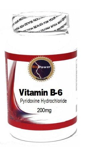 Vitamin B-6 (Pyridoxine Hydrochloride) 200mg 100 Capsules # BioPower Nutrition