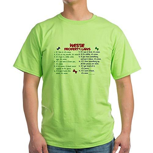 (CafePress Westie Property Laws 2 Light T Shirt 100% Cotton T-Shirt Green)