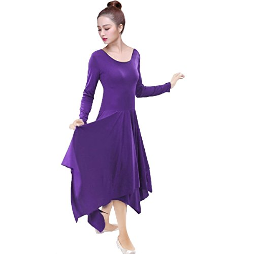 OBEEII Women Praise Dance Dress Lyrical Loose Fit Elegant Long Sleeve Irregular Hem Liturgical Dancewear Worship Costume Purple (Pick A Little Ladies Costumes)
