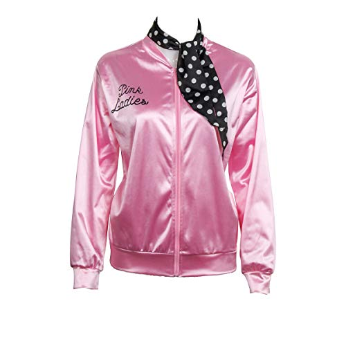 (COSFLY Ladies 50S Grease T Bird Danny Pink Satin Jacket Halloween Cosplay Costume with Neck Scarf)