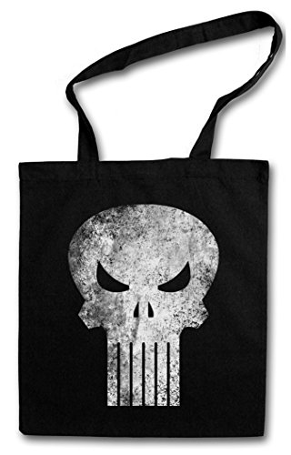PUNISHER SKULL Hipster Shopping Cotton Bag Borse riutilizzabili per la spesa - Insignia Logo Symbol Hero Comic TV Punitore Movie Frank Castle PC Game