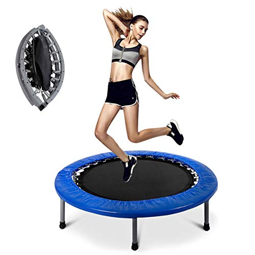 Giantex Folding Trampoline, 38 Inch Exercise Rebounder Suitable for Adults or Kids, with Padding & Springs Elastic Safe for Outdoor Indoor Exercise Workout, Fitness Trampoline