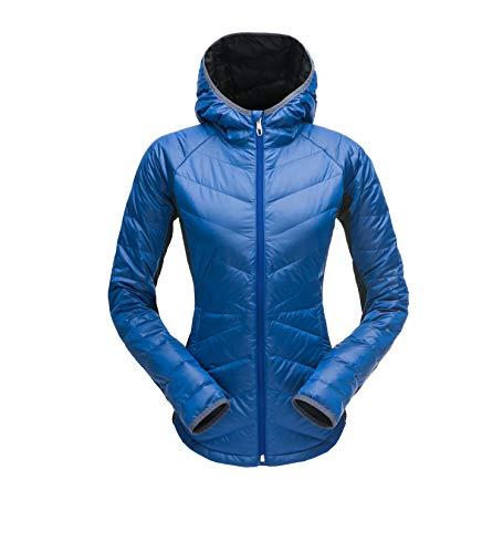 Spyder Women's Solitude Hoody Down Jacket, Blue Depths/Black, Small