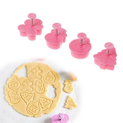 Amrka 4Pcs Christmas Cookies Baking Molds, Cookies Decorating Tools Mold Cutter Set DIY Cookies Making Tool (Marzipan Christmas Non Cake)