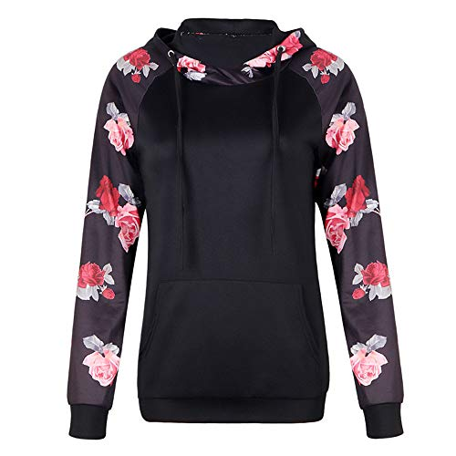 - ✦HebeTop ✦ Casual Tops for Women Long Sleeve Shirts Floral Print Tunics for Leggings Black