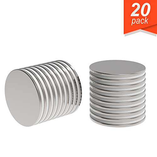 "Super Strong Neodymium Magnet N52 1.26 x 1/16"" Permanent Magnet Disc, The World's Strongest & Most Powerful Rare Earth Magnets by Applied Magnets 20Pc"