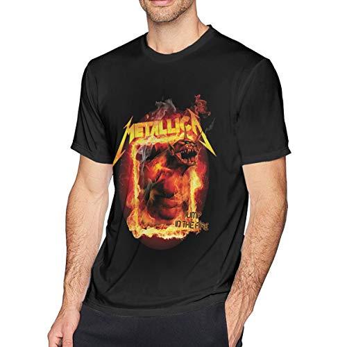 NANCYAA Metallica Jump in The Fire Men's Fashion Short Sleeve Tee Black L (Metallica Jump In The Fire T Shirt)