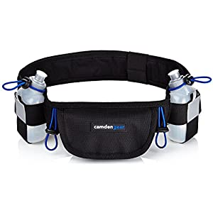 Hydration Running Belt by Camden Gear - Fits iPhone 6 Plus - with 2 BPA Free Water Bottles