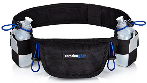 Hydration Running Belt by Camden Gear Fits iPhone X and Samsung Galaxy S8 with 2 BPA Free Water Bottles