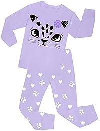 "Babylike ""cat"" little girls 2 Piece Pajama 100% Cotton(Size 2-9 Years)"