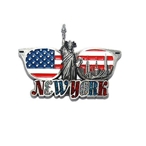 US Flag Sunglasses Shaped Metal Fridge NY Magnet - Empire State Building,Statue Of Liberty,Brooklyn Bridge,Skylines New York Souvenir (Pack 1) (Shaped Fridge Magnet)
