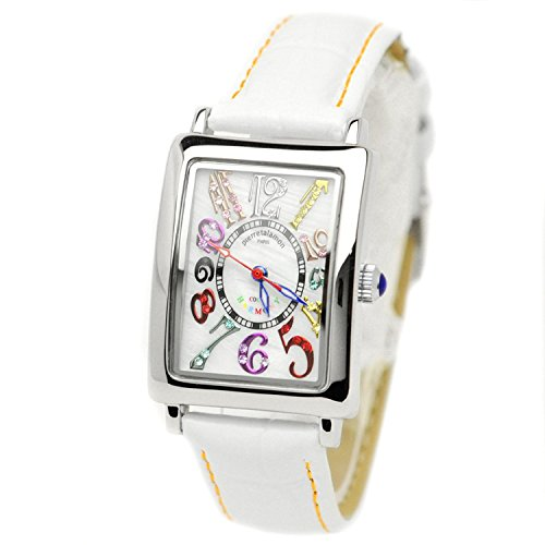 pierretalamon watch Women's Watches rectangular colorful index zirconia watch Seiko move White x Orange stitch PT-9500L-1 Ladies