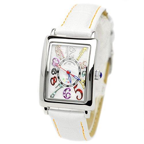 pierretalamon watch Women's Watches rectangular colorful index zirconia watch Seiko move White x Orange stitch PT-9500L-1 Ladies