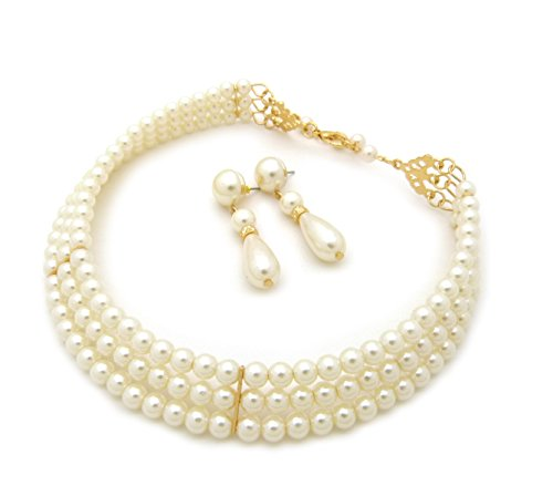3 Rows Elegant Simulated Pearl Choker Necklace, Pierced Earring 2 Set (Cream) (Ivory Womens Necklace)